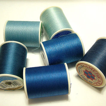 Thread,Sewing, Quilting, Set of 6 New Spools, Shades of Blue, DIY, Coats and Clark, Americana Brands