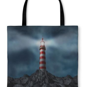 Tote Bag, Lighthouse Clearing the Path