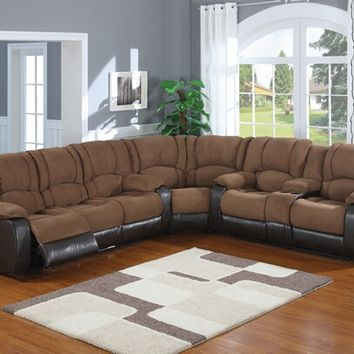 3 pc 2 tone Jagger mocha microfiber and leather like vinyl upholstered sectional sofa with power motion recliners