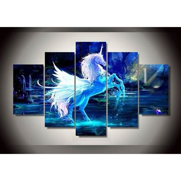 HD Printed pictures unicorn horse Group Painting room decor print poster picture canvas