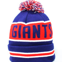 123Beanies New York Giants Coach BeanieBlueRed