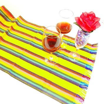 Yellow Sarape Mexican Table Runner, Tela Mexicana, Mexican Fiesta Party, Aztec Fabric, Mexican Wedding Decorations.