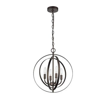 "16"" Wide Osbert Industrial- 4 Light Rubbed Bronze Ceiling Pendant - CH59074RB16-UP4"