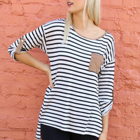 Hernando Creek Striped Quarter Sleeve Top With Contrast Pocket & Trim
