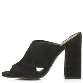 GRAND Suede Mules - Black