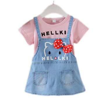 Girls Clothing Sets False 2pcs Girl Dress Summer Cute Cat Kids Clothes Toddler Girls Dresses Denim Children Clothing Z04
