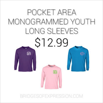 Pocket Area Monogrammed YOUTH Long Sleeve Gildan Brand T-Shirt (Unisex)