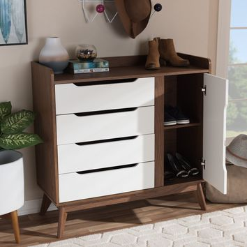 Baxton Studio Brighton Mid-Century Modern White and Walnut Wood Storage Shoe Cabinet Set of 1