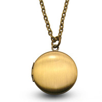 Brass Locket with Love Letter - Insert or Replace Your own Photos - Engraving Available - Chain Included