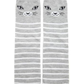 Striped Cat Crew Socks