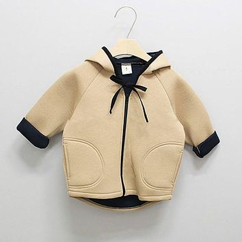 Baby Childen Pure Color Bowknot Cloth Coat Hooded Long Sleeve Mickey Ears Windbreaker Autumn Spring Jacket Children Outwear