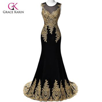 Mermaid Prom Dresses 2018 Grace Karin Sleeveless Sexy See Through Gold Lace Appliques White black Red long Evening Prom Dresses