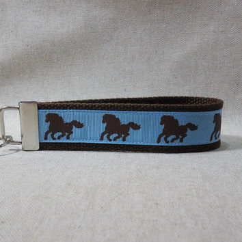 Keychain Wristlet Made With Blue and Brown Horse Inspired Ribbon