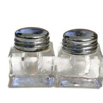 Pair Crystal Cut Salt & Pepper Shakers / Square with Silver Lid