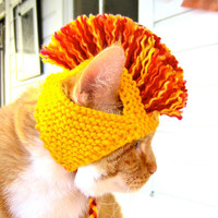 Cat Hat Costume - Yellow, Orange, and Red Mohawk (READY TO SHIP)