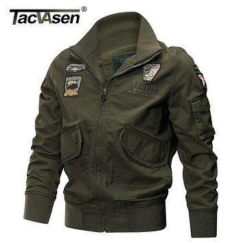 TACVASEN Military Jacket Men Winter Cotton Jacket Coat Army Pilot Jackets Air Force Cargo Coat Autumn Slim type TD-QZQQ-005