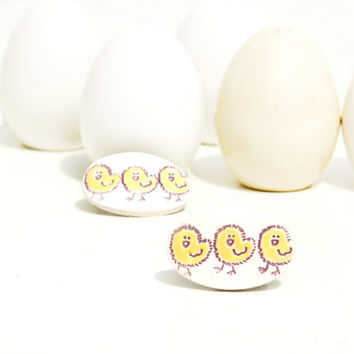 Baby Chicks ceramic barrette's