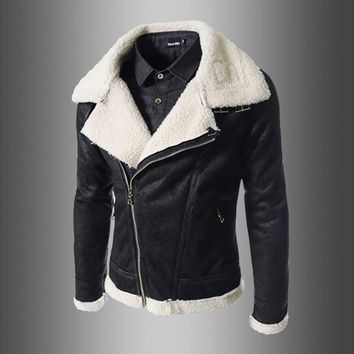 Men Pu Leather Jacket High Quality New Arrival Autumn Winter Inclined Pull Fine Lamb Wool Men's Slim Large Collar Leather Coat