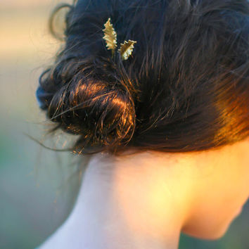 Gold Holly Leaf Hair Pins Holly Leaf Bobby Pin Fall  & Christmas Hair Pin Xmas Hair Winter Wedding Hair Accessory