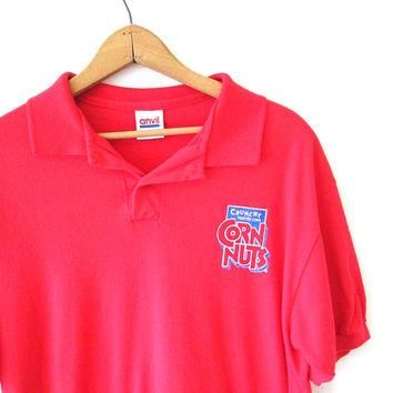 Vintage 1990s CORN NUTS Crunchy Roasted Corn Snacks Junk Food Henley Polo Shirt Sz L