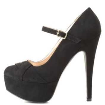 Pleated Mary Jane Platform Pumps by Charlotte Russe