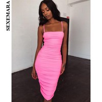 BOOFEENAA Neon Pink Green Bodycon Bandage Dress Sexy Night Club Party Dresses For Women Ruched Spaghetti Strap Midi Dress C83AZ9