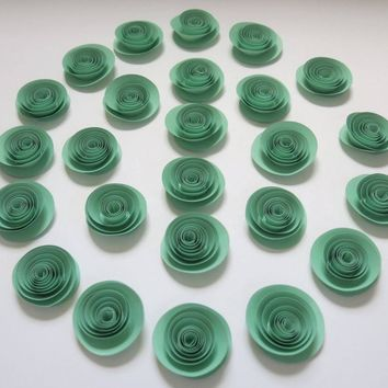 "set of 24 Mint Green paper flowers, 1.5"" pastel roses for gender neutral baby shower decorations, wedding decor, bridal party table scatter"