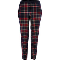 River Island Womens Navy check slim cigarette pants