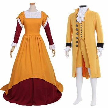 Custom Made Adult Mens Women 18th Century British Prince Suit Medieval Women Dress
