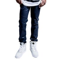 Biker Denim Jeans Royal Navy Wax
