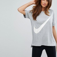 Nike Swoosh T-Shirt In Grey at asos.com