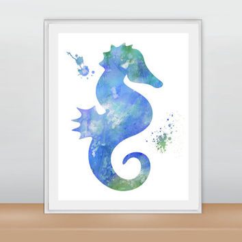 Nautical Art Print, Nautical Home Decor, Beach Art Print, Nursery Art Print, Inspirational Print, Watercolor Seahorse, Watercolor Print
