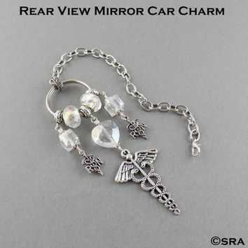 Rear View Mirror Registered Nurse Crystal Car Charm/Gift For RN Nurse/Nurse Car Accessories/RN Nurse Rear View Mirror Accessories & Keychain