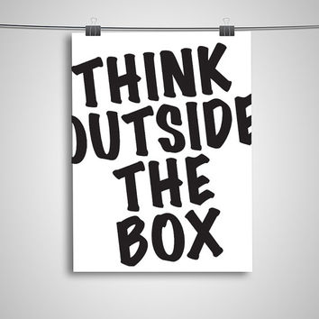 """Typography Poster """"Think Outside the Box"""" Motivational Inspirational Creative Quote Happy Print Wall Home Decor"""