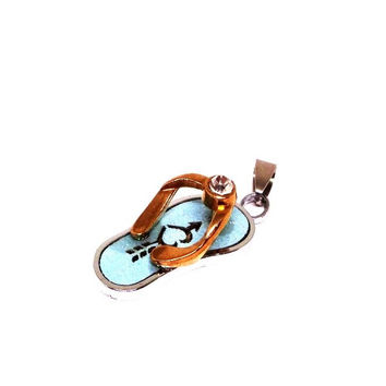 316L Stainless Steel & Gold blue Flip Flop Jeweled Pendant on Chain or Leather