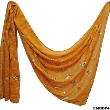 Indian Women Dupatta Long Chunri Party Wear Antique Shawl Floral Design Traditional Neck Wrap Georgette Embroidered Yellow Stole EMBDP42