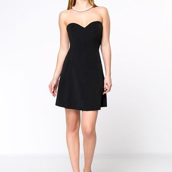 Casual Strapless Back Hole Solid Skater Dress In Black