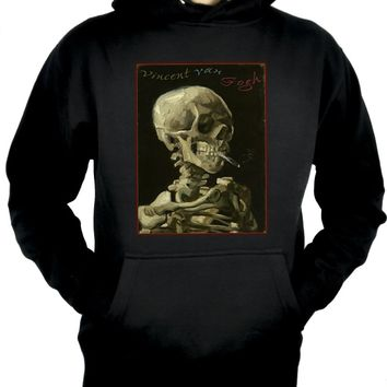 Skeleton Smoking Pullover Hoodie Sweatshirt Van Gogh Painting
