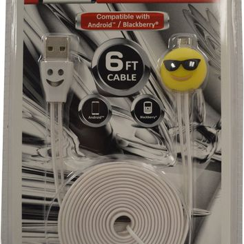 6ft Emoji Led Micro USB Cable - CASE OF 12