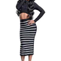 'Charlie' Black Two Piece Striped Bandage Dress Set
