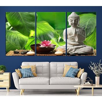 62307 - Wall Art Small Buddha Statue with Lotus Flower, Zen Stones and Canddles