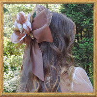 Reconstructed Vintage Fascinator in Taupe Silk Organza with Two Large Silk and Velvet Flowers