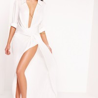Missguided - Peace + Love Wrap Front Shirt Maxi Dress White