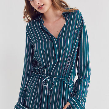 Silence + Noise Benji Striped Button-Down Romper | Urban Outfitters