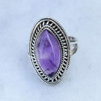 Amethyst ring,  stone ring, silver ring, silver Amethyst ring, 92.5 sterling silver, Amethyst Silver Ring,  RNSL208