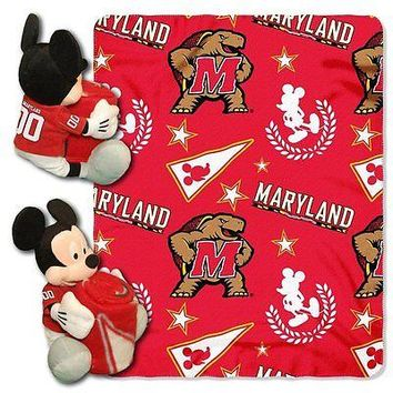 Maryland Terrapins NCAA Mickey Mouse Throw and Hugger Pillow Set
