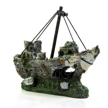 Sunk Ship Wreck Fish Tank Aquarium Ornament