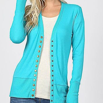 Snap Cardigan - Turquoise