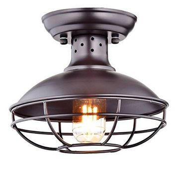 Dazhuan Industrial Vintage Metal Cage Pendant Lighting Semi Flush Mount Ceiling Light Lamp Fixture ORB Hanging Chandelier