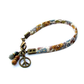 Gypsy, ribbon bracelet with jasper and African turquoise charms
